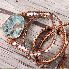 Ocean Jasper Boho Leather Wrap Bracelet
