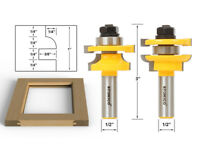 """Round Over 2 Bit Rail and Stile Router Bit Set - 1/2"""" Shank - Yonico 12241"""