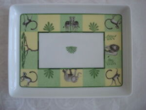 "Hermes ""Africa"" Animals Sushi Plate Tray Porcelain Rectangle Green 6.25""x4.75"""