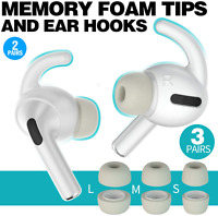 Grey Memory Foam Covers Tips AND Ear Hooks for AirPods Pro Size S,M,L + 4 Hooks