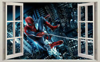Spider Man 3D Window View Kids Wall Stickers Art Vinyl Decals Mural Boys Decor
