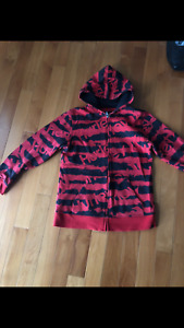 Hurley Jr Boy's hoodie sweater jacket front long zipper red color Size Large