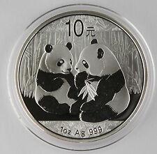 China 2009 1 Oz 999 Silver Panda 10 Yuan Coin GEM BU+ in Original Capsule