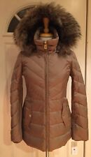Michael Kors Jacket Coat Puffer Down Hood Faux Fur Taupe Truffle XXS $280 NWT