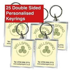 25 Promotional Double Sided Keyrings, Personalised, Business, Charity, School