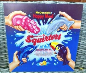 """McDonald's Happy Meal Animal Water Squirters 22"""" Translite Display Sign, 1995"""