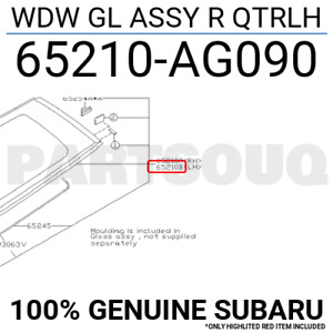 65210AG090 Genuine Subaru WDW GL ASSY R QTRLH 65210-AG090