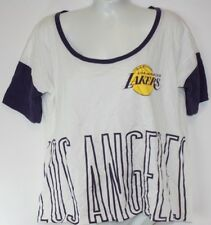 NEW Womens NBA Los Angeles Lakers '47 Brand White Crop Top Shirt NWOT