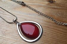 Striking Red Glass Bead Necklace/Teardrop/Modern/Statement/Silver Tone
