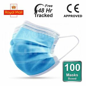10 / 50 / 100 Non Surgical Mask Blue Disposable Face Masks Water Resistant Masks