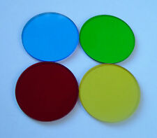 Set of 4 High Quality Replacement Filter Glass Blue/Green/Red/Yellow 30mm  32mm