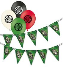 Darts - Board  bunting & Assorted Dart Board Printed Latex Balloons pack of 10
