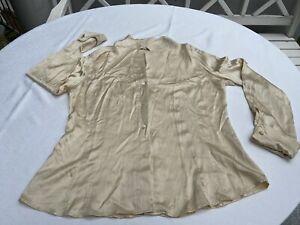 Damen Bluse Otto Kern Seide Gold Beige Größe 44 Manschettenknöpfe