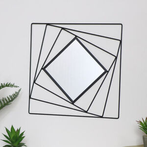 Black metal wall mirror square geometric modern contemporary wall decor gift