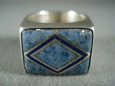 "MARVELOUS VINTAGE NAVAJO """"RHOMBUS AND LAPIS"""" SILVER RING"