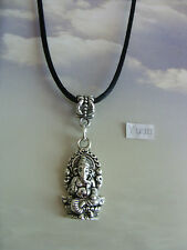 "Lord Ganesha The indien éléphant Breloque Argent Tibetain, Long 30"" Noir Collier"