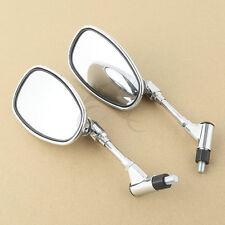 Chrome Universal Motorcycle Mirrors For Shadow VTX Honda Suzuki Kawasaki 10mm
