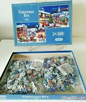 GIBSONS Christmas Eve 2x 500 Piece Puzzles Jigsaw COMPLETE