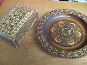 Wooden Maquetry Box & Plate