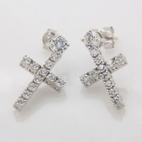 1.50 Carat Round Cut Diamond Jesus Cross Stud Earrings 14K White Gold Over XMAS