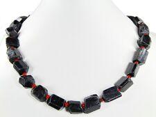 Beautiful precious stone necklace made of Black Tourmaline in Irregular Form