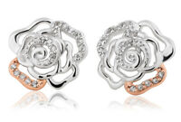 NEW Clogau Silver & Rose Gold Royal Roses White Topaz Stud Earrings £30 OFF!
