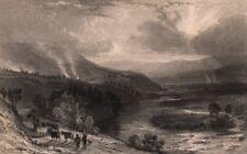 COUNTY DURHAM. Teesdale, near Winch Bridge. ALLOM 1839 old antique print