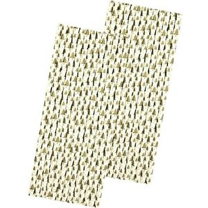 Holiday Paper Straws - Gold and White Christmas Trees - 50 Pack
