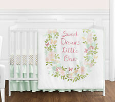 Blush Pink Mint Shabby Chic Butterfly Floral Baby Girl 4pc Crib Bedding Set