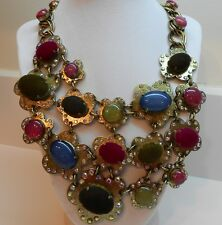 Betsey Johnson Woodland Multi Bead Bib Antique Gold Tone Necklace MSRP $195