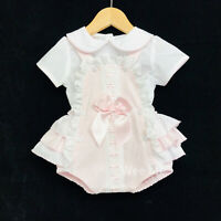 New Arrival Gorgeous Baby Girl Spanish Pink Brace Suit Frilly Back Big Satin Bow