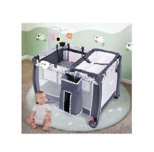Gray Folding Portable Baby Playpen w/ Changing Table Whirligig & Storage Basket