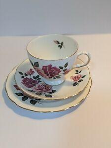 """Ridgway Potteries Royal Vale Bone China Tea Trio """"PATT N° 8329"""": Used"""