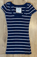 Abercrombie & Fitch Women's T Shirt Blue Striped Small S/S Cotton Blend STRETCH