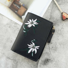 Women Wallet PU Leather Print Flower Cash Pocket Photo MiniClutch Short Purse