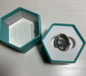 NIB Origami Owl Silver Heirloom Hinged Living  Locket Ring Size 8