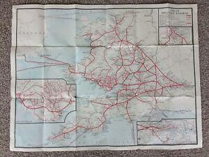 GREAT WESTERN RAILWAY SYSTEM MAP + steamer routes 66 x 50cm C 1930 folded gwr