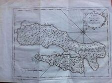 CARTA ISOLE AMBOINE INDONESIA ARCIPELAGO MOLUQUES ASIA acquaforte 1760 BELLIN