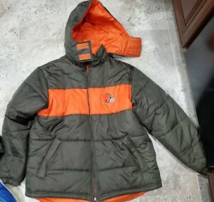 AWESOME REEBOK CLEVELAND BROWNS REVERSIBLE HOODED PUFFER JACKET MENS SIZE MEDIUM