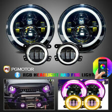 "RGB Halo 7"" LED Headlights w/ 4"" Fog Light Combo Kit Jeep Wrangler JK 2007-2017"