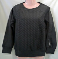 Women's Steve Madden Quilted Cable Knit Lounge Top Black Small Sweatshirt