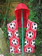 A Hooded Pocket Scarf, Red Soccer Print, Handmade, Red Fleece, soft, warm.