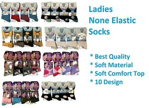 3 X Pairs Ladies Fresh Feel Gentle Soft Grip Socks Can Use For Diabetic Size 4-7