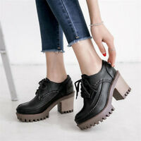 Women's Roman Round Toe Platform  Lace Up Ankle Boots Block High Heels Shoes Sz