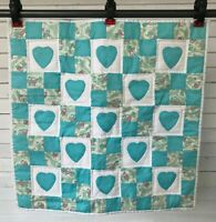 Vintage Kitty Cat Heart Blue Quilt Baby Doll Blanket Throw Security Homemade 23""