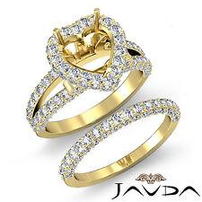 Pave Diamond Engagement Ring Heart Bridal Set 18k Gold Yellow Semi Mount 2.7 ct.