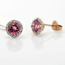 $534 FINE 14K ROSE GOLD PAVE DIAMOND 2.37C PINK TOPAZ STUD STUDS EARRINGS