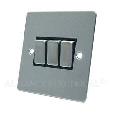 Brushed Matt Satin Chrome Flat 3 Gang Light Switch - 10 Amp Triple 3G 2 Way