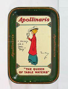 ca1905 APOLLINARIS SODA WATER MIXER TIN LITHO ADVERTISING TIP TRAY / BEER TRAY