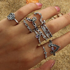10pcs/Set Women Bohemian Vintage Silver Stack Rings Above Knuckle Blue Rings Y